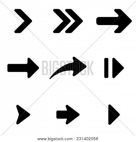 Black Arrows Set. Flat Arrow Signs. Vector Illustration Isolated On White Background