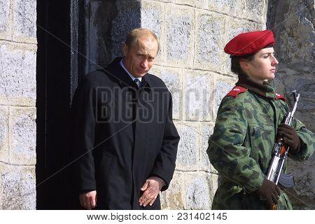 Shipka, Bulgaria - Mart 3, 2003: The Presidents Of Russia Vladimir Putin And Bulgaria Georgi Parvano