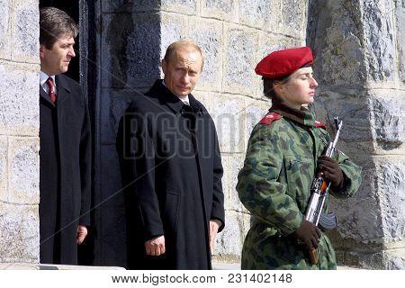 Shipka, Bulgaria - Mart 3, 2003: The Presidents Of Russia Vladimir Putin (c) And Bulgaria Georgi Par