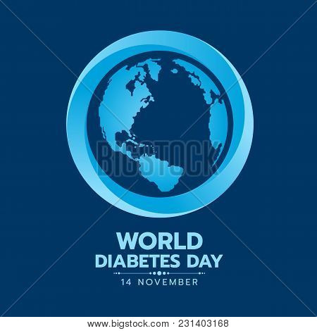 World Diabetes Day Banner With Earth World Map Sign In Blue Circle Sign On Dark Blue Background Vect