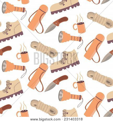 Seamless Travelling Camping Hiking Pattern Cartoon Illustartion Boot Rope Knife Cup Hot Drink Thermo