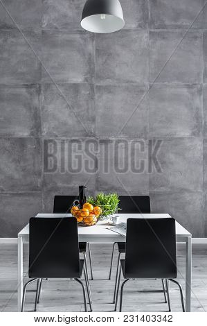 Concrete Wall In Dining Room