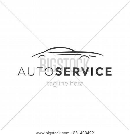 Modern Auto Service Emblem With Car Silhouette. Logo Design Vector Element. Machine Garage Business