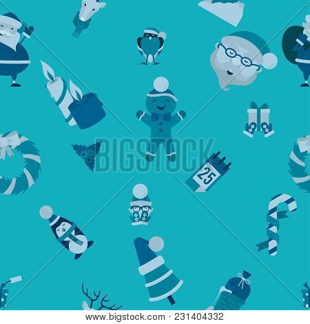 Christmas Seamless Pattern Background. Monochrome Color. Simple And Minimalistic Style. Vector