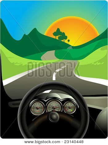 Driving on long road