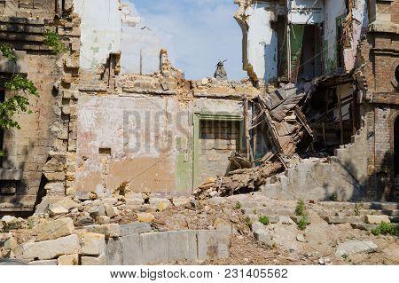 Abandoned And Devastated Building In Ukraine, Donbass. Ukraine War. Donbass Destruction