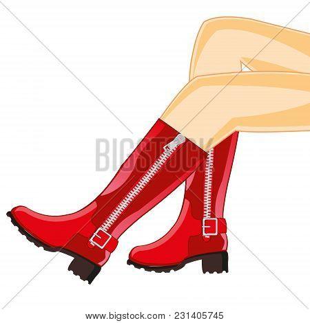 The Beautiful Feminine Legs In Red Boot.