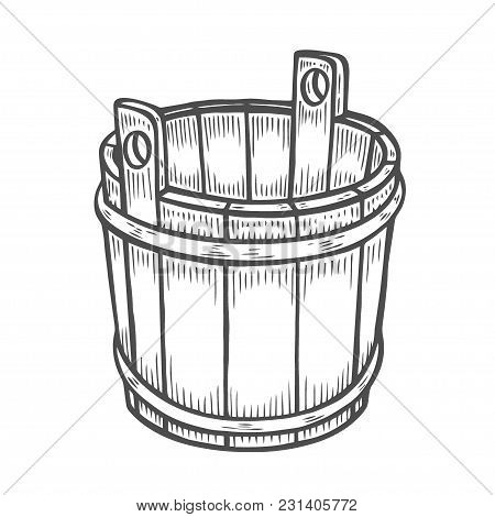 Woodcut Of An Old Wooden Bucket. Engraving Vector Illustration Isolated On White