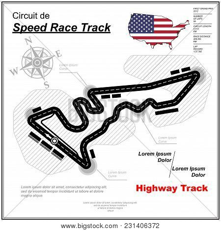 White Background With Simple Race Track Map Circuit And Sample Text