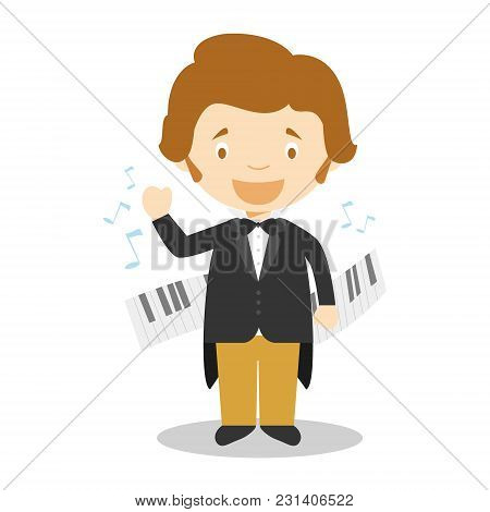Frederic Chopin Cartoon Character. Vector Illustration. Kids History Collection.