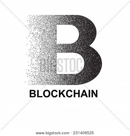 Black Dotted Abstract Blockchain Symbol Isolated On White Background