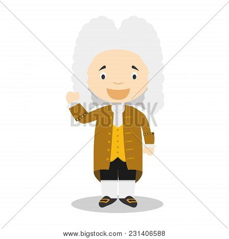 Georg Friedrich Handel Cartoon Character. Vector Illustration. Kids History Collection.