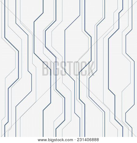 Abstract Vector Seamless Pattern With Lines. Background In High Tech Style. Muted Monochrome Colors.