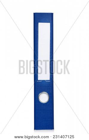 Blue business file folder, isolated on white background