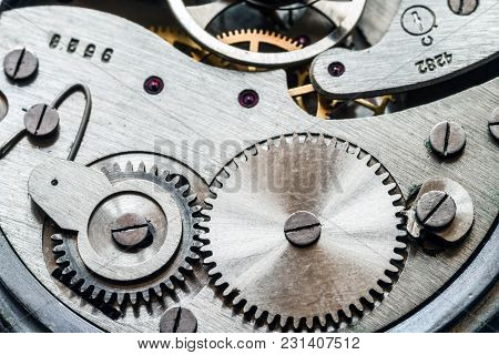Mechanism Of Old Mechanical Watches. Selective Focus.
