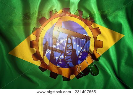 Oil Rig On The Background Of The Flag Of Brazil. Mixed Environment. The Concept Of Oil Production, M