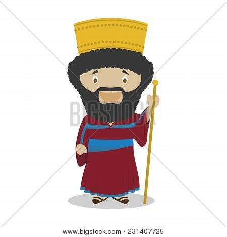 Cyrus Ii Of Persia (the Great) Cartoon Character. Vector Illustration. Kids History Collection.
