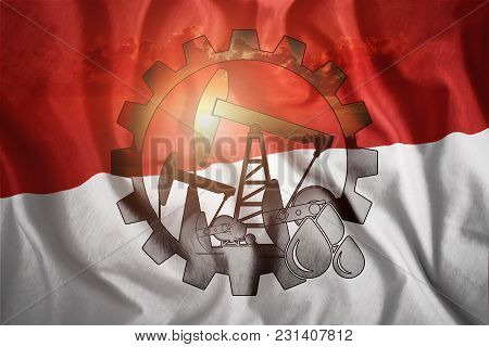 Oil Rig On The Background Of The Monaco Flag. Mixed Environment. The Concept Of Oil Production, Mine
