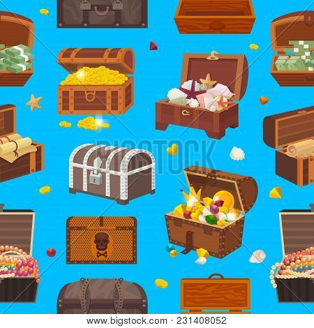 Chest Vector Treasure Box With Gold Money Wealth Or Wooden Pirate Chests With Golden Coins And Ancie