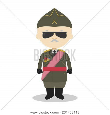 Francisco Franco Cartoon Character. Vector Illustration. Kids History Collection.