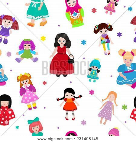 Vector Doll Toy Cute Girl Female Set Illustration Childhood Baby Dress Face Child Beautiful Dollhous