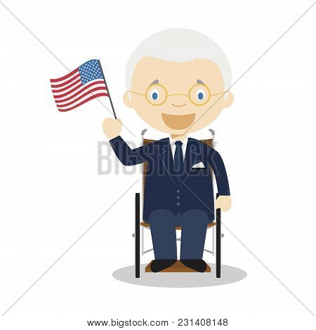 Franklin D Roosevelt Cartoon Character. Vector Illustration. Kids History Collection.