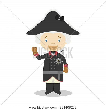 Frederick Ii Of Prussia (the Great) Cartoon Character. Vector Illustration. Kids History Collection.