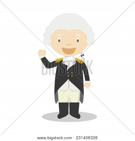 George Washington Cartoon Character. Vector Illustration. Kids History Collection.
