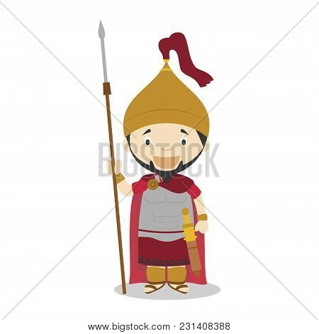 Hannibal Cartoon Character. Vector Illustration. Kids History Collection.