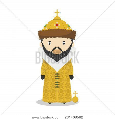 Ivan Iv Of Russia (the Terrible) Cartoon Character. Vector Illustration. Kids History Collection.