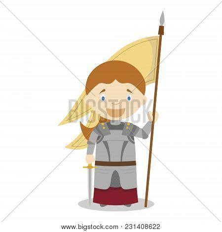 Joan Of Arc Cartoon Character. Vector Illustration. Kids History Collection.
