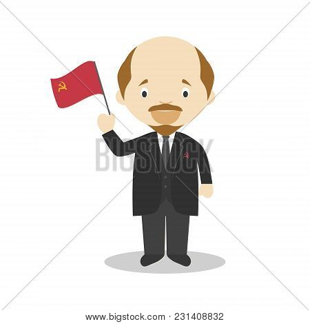 Lenin Cartoon Character. Vector Illustration. Kids History Collection.