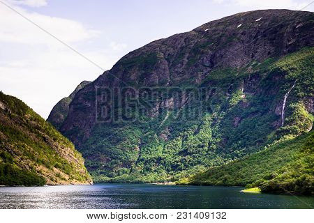 Beautiful Nordic Landscape With Spectacular Norwegian Fjord - Long, Narrow Inlet With Steep Sides Or