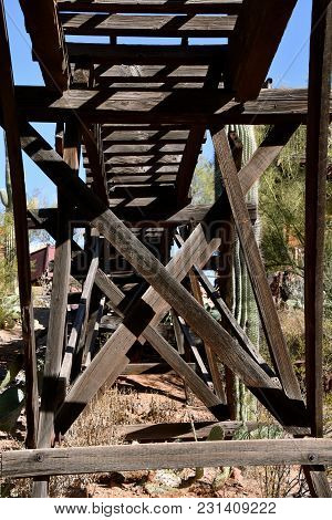 View Looking Up At A Trestle With Train Tracks In An Old Mining Camp