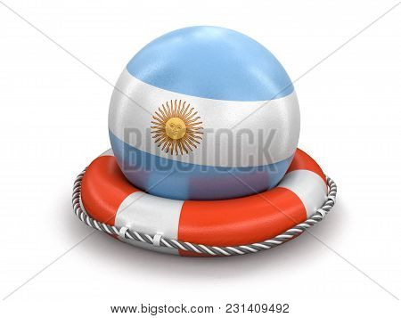 3d Illustration. Ball With Argentinian Flag On Lifebuoy. Image With Clipping Path