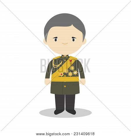 Plaek Phibunsongkhram Cartoon Character. Vector Illustration. Kids History Collection.