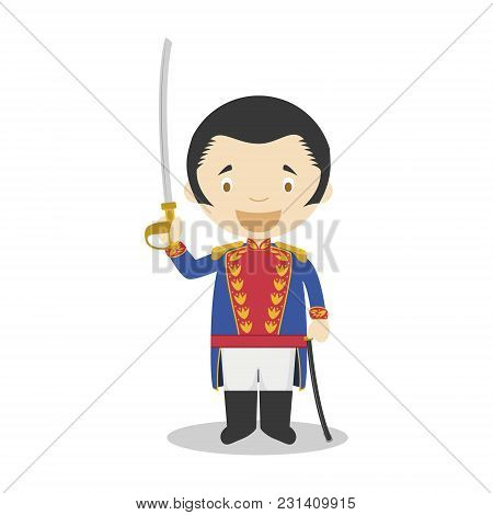 Simon Bolivar Cartoon Character. Vector Illustration. Kids History Collection.