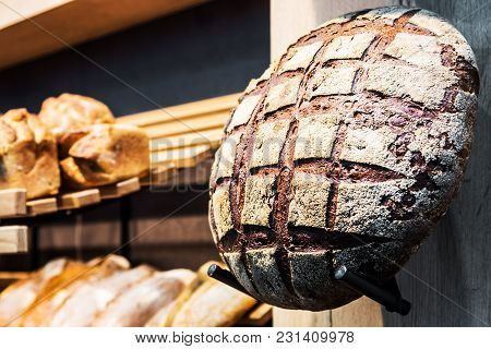 Freshly Baked Bread And Bakery Products On The Counter