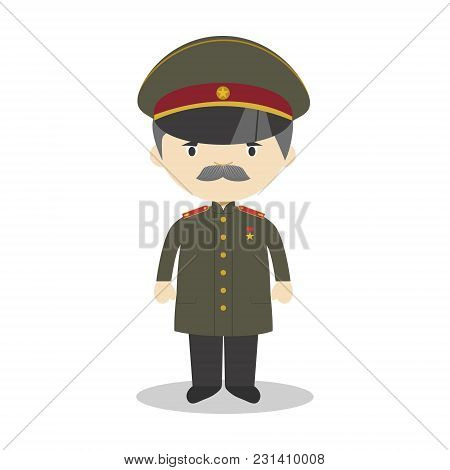 Stalin Cartoon Character. Vector Illustration. Kids History Collection.