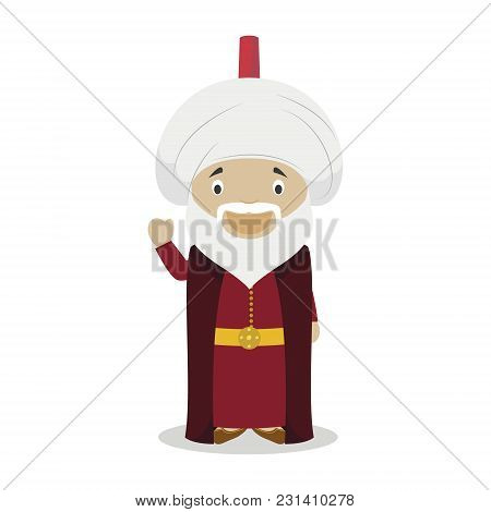 Sultan Suleiman I The Magnificent Cartoon Character. Vector Illustration. Kids History Collection.