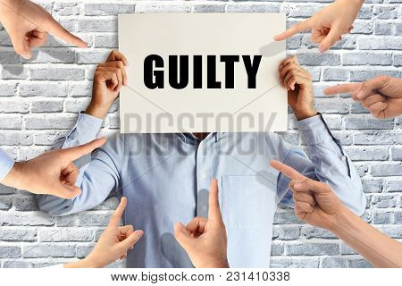 Guilty Businessman Judged By Different People Pointing Fingers At Him