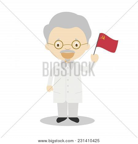 Leon Trotsky Cartoon Character. Vector Illustration. Kids History Collection.