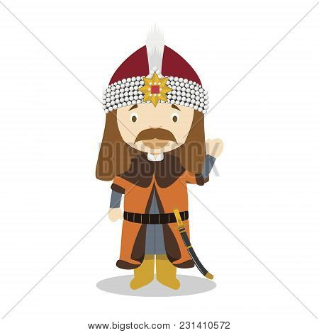 Vlad Viii The Impaler (vlad Dracula) Cartoon Character. Vector Illustration. Kids History Collection