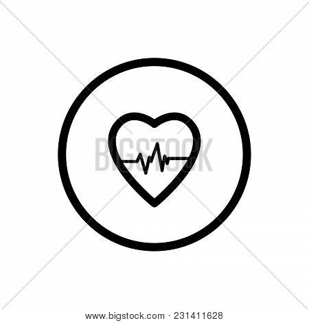 Heart Line Icon On A White Background. Vector Illustration