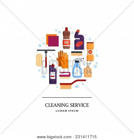 Cleaning Service Logo. Set House Cleaning Tools In Circle Isolated On White Background. Detergent An