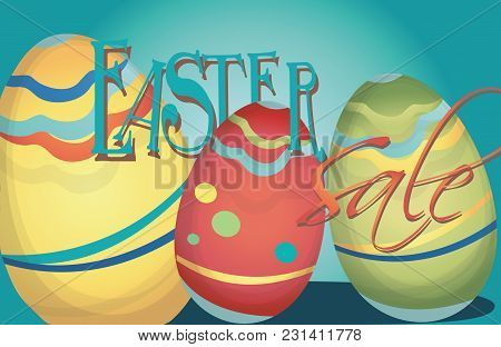 Easter Sale Advertising Banner With Colorful Eggs