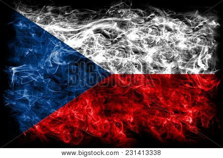 Czech Republic Smoke Flag On A Black Background