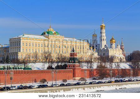 Moscow Kremlin On A Sunny Winter Morning. View From Sofiyskaya Embankment