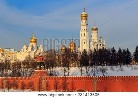 Golden Domes Of Churches In The Moscow Kremlin
