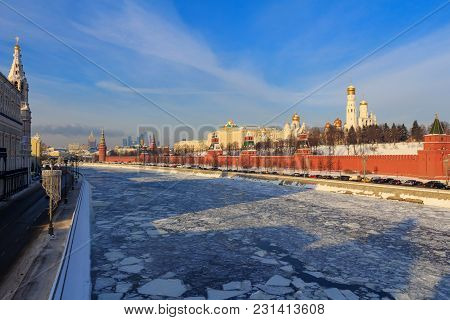 Frozen Moskva River On The Background Of Moscow Kremlin. Winter In Moscow